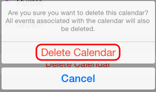 delete calendar confirmation screen