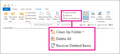 Recover Deleted Items command on the ribbon