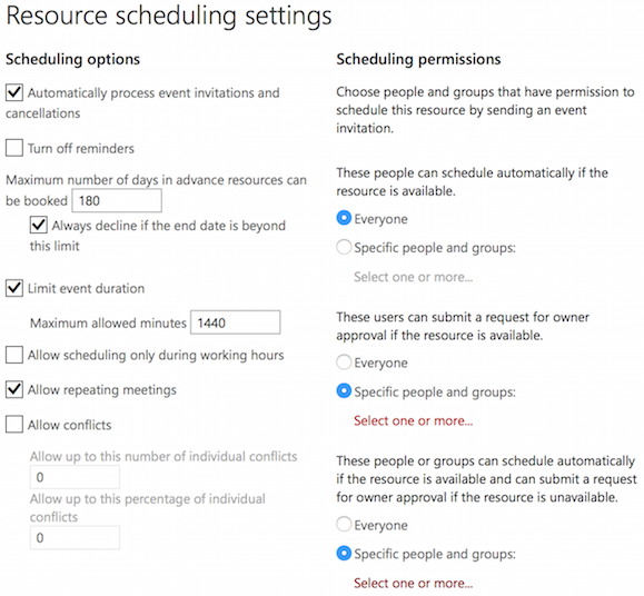 Resource Settings Screen