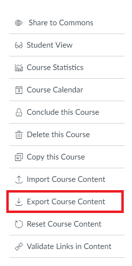 This image shows where to find the export course content button in the settings of a Canvas course.