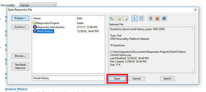 This image shows how to find a respondus file in the respondus application.