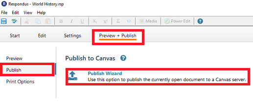 This image highlights how to open the preview & publish tab and the publish wizard to export your quiz to Canvas.