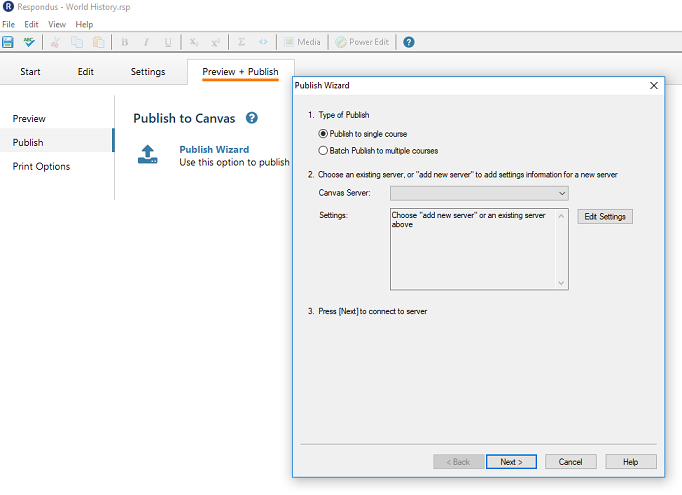 This image shows the publishing pop-up and how to add a new server to respondus.