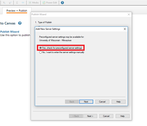 This image highlights preconfigured server settings for respondus to use with Canvas