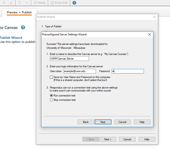 This image shows what information to type in for the new Canvas server in Respondus.