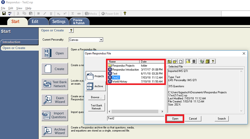 This image highlights the file browser when opening a file in Respondus 4.