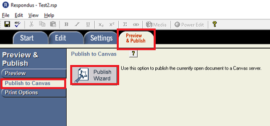 This image highlights the Preview & Publish tab, the Publish to Canvas tab, and the Publish Wizard button.