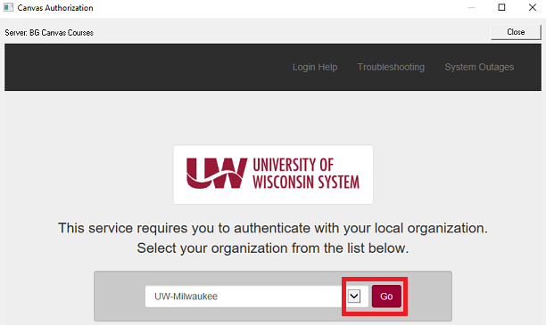 This image shows the authorization pop-up windown and highlights the institution drop-down menu and the Go button.