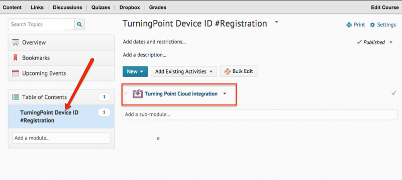 This image highlights the add module and turninpoint integration link.