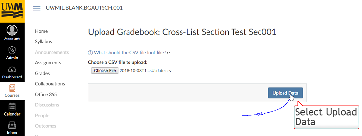 "This image highlights the ""Upload Data"" button to click after selecting the Gradebook Excel file to be imported into Canvas"