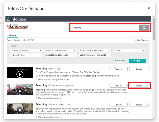 films on deman search and embed