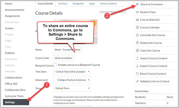 image shows how to navigate to a course's settings and share an entire course to canvas commons