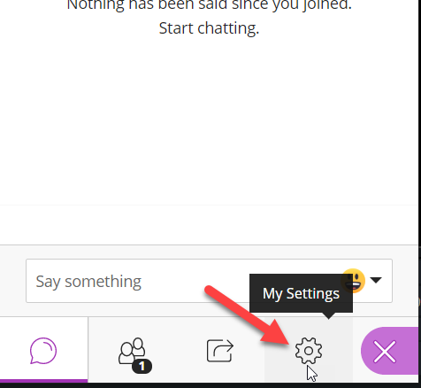 "The bottom of the page is shown. The ""My Settings"" gear icon is highlighted, and the mouse is hovering over it."