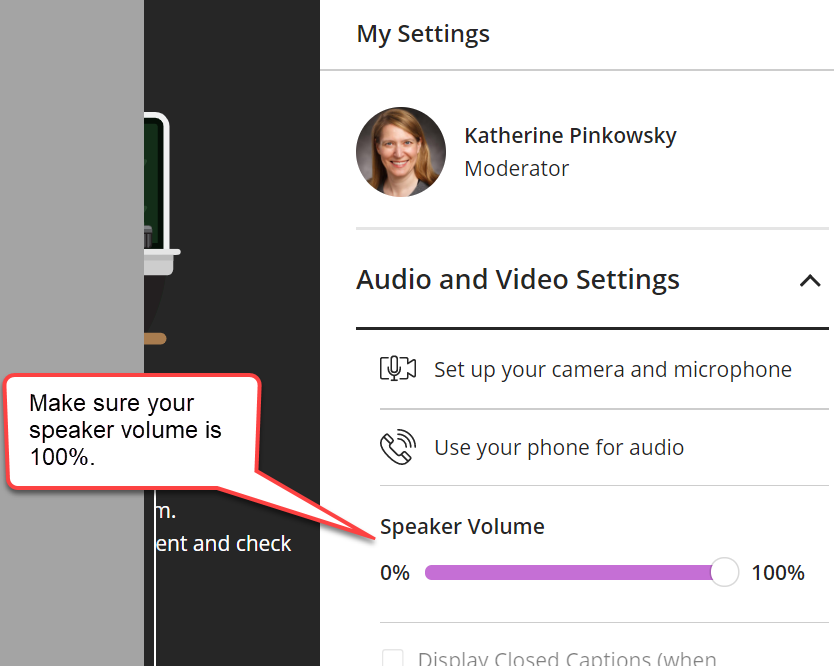 "The ""My Settings"" panel is shown. Below the ""Audio and Video"" settings heading, is a ""Speaker Volume"" slider control. It is highlighted with a caption bubble. The slider is set to 100%. The slider bar is purple and thick to indicate the slider is dragged to the right."