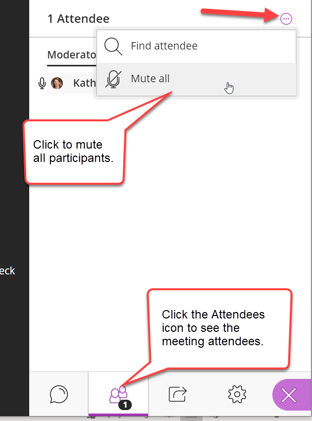 The Attendees panel is opened. The Attendees icon is highlighted at the bottom of the page, in purple, and with a comment bubble. The option menu icon is clicked and it's menu is shown. The Mute all option is highlighted with a caption bubble and the mouse pointer is hovering over it.