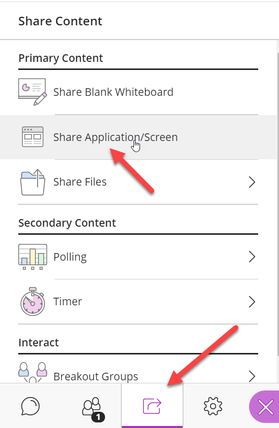 "The Share Content icon is clicked and it is highlighted with a red arrow, and the Share Content panel is opened. The ""Share Application/Screen"" option is highlighted and the mouse pointer is hovering over it."