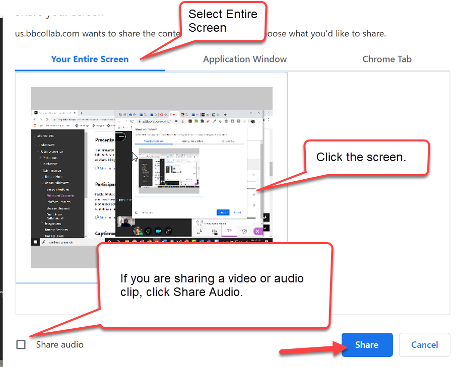 "The Share Screen window is shown. The ""View Entire Screen"" tab is selected, and is highlighted with a caption bubble. The example image shows what would be displayed if your computer has one screen. The ""Share Audio"" checkbox is in the lower left corner, and is highlighted with a caption bubble. The Share button is in the lower right corner, and is highlighted with a red arrow."