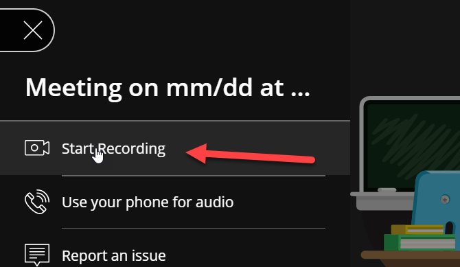"The mouse is placed over the ""Start Recording"" option, which is highlighted by a red arrow. The icon next to the label is a camera icon with a clear circle in the middle."