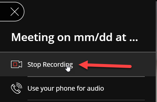 "The mouse is placed over the ""Stop Recording"" option, which is highlighted by a red arrow. The icon next to the label is a camera icon with a red box in the middle."