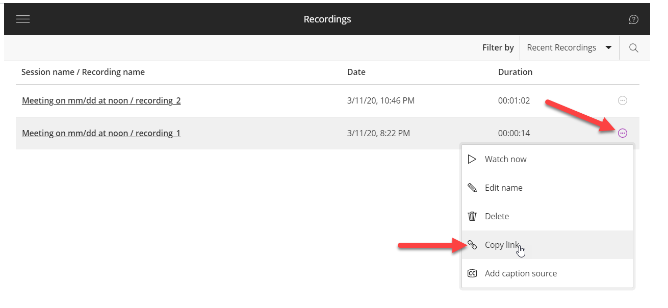 A list of course recordings is shown. To the right of the second recording, the kabab (three-dots in a circle) icon is clicked and is highlighted with a red arrow. A menu is displayed. The Copy Link option is highlighted.