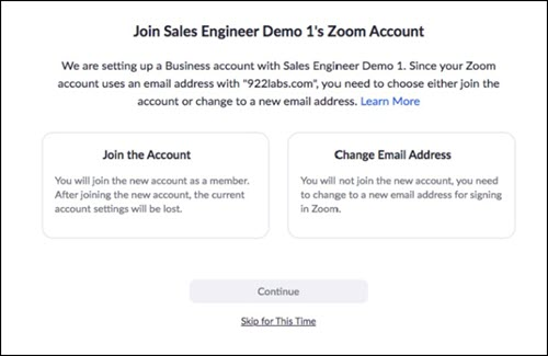 Zoom account consolidation message, offering user the choice to join the new account or change email addresses.