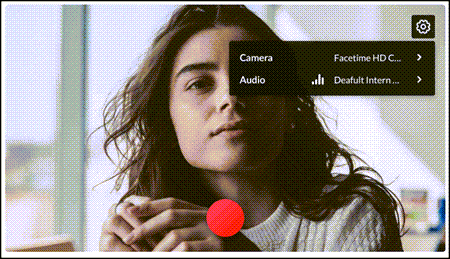 Webcam Recorder with options to select camera and microphone.