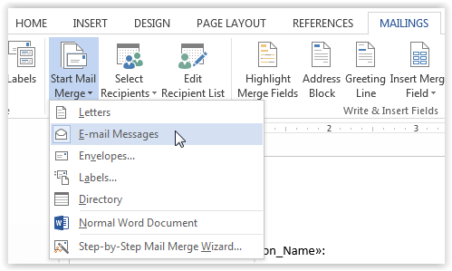 "Choose ""Email Messages""  from the dropdown list."