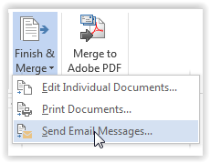 "Click the ""Finish & Merge"" icon"