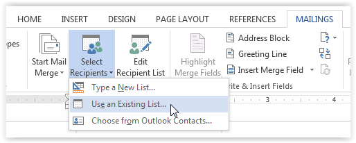 "Click on ""Select Recipients"" and then ""Use an Existing List"""