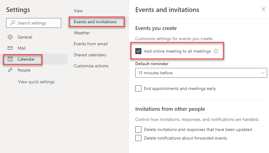 Settings, events and invitations