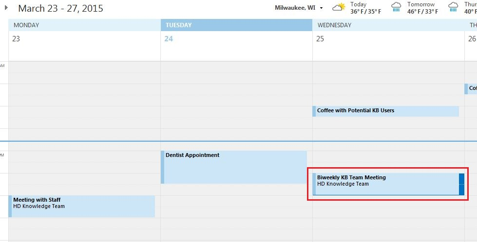 Office 365 (Outlook 2016) - Updating a Calendar event using drag-and