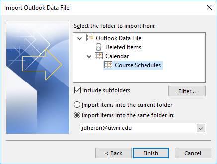 Office 365 (Outlook 2016) Importing and Exporting Calendars