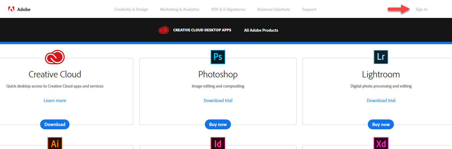 Home page, Adobe CC