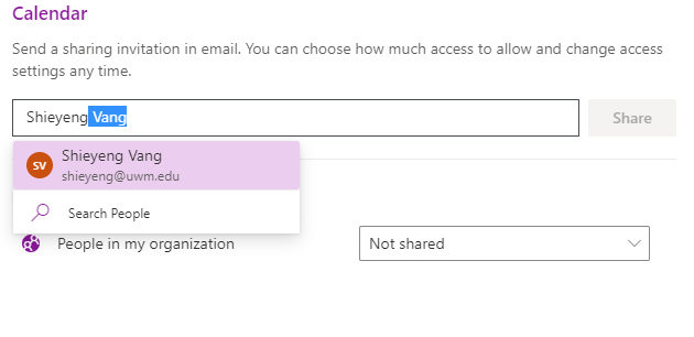 Office 365 (Outlook on the Web) - Personal Calendar Sharing