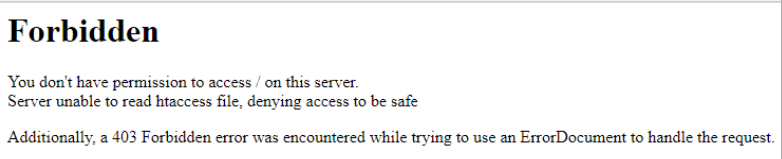 Forbidden Error. You dont have permission to access / on this server