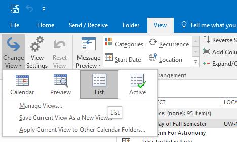Office 365 (Outlook 2016) - Viewing Calendar in Excel