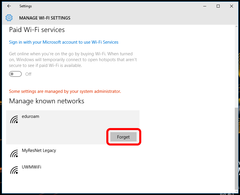 how do you forget a network in windows 10