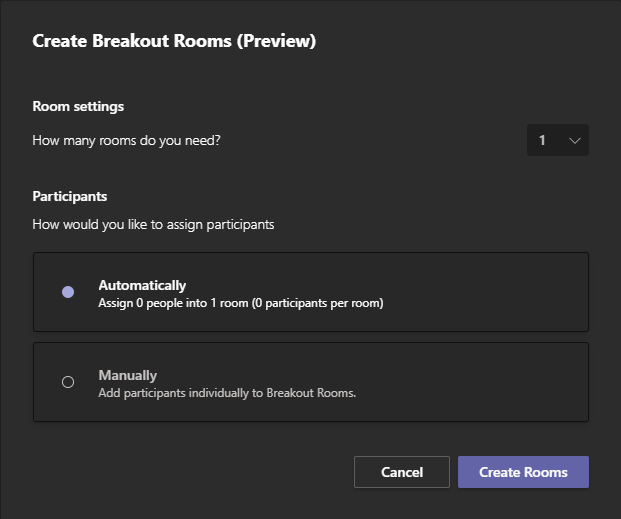 Create Breakout Rooms Window