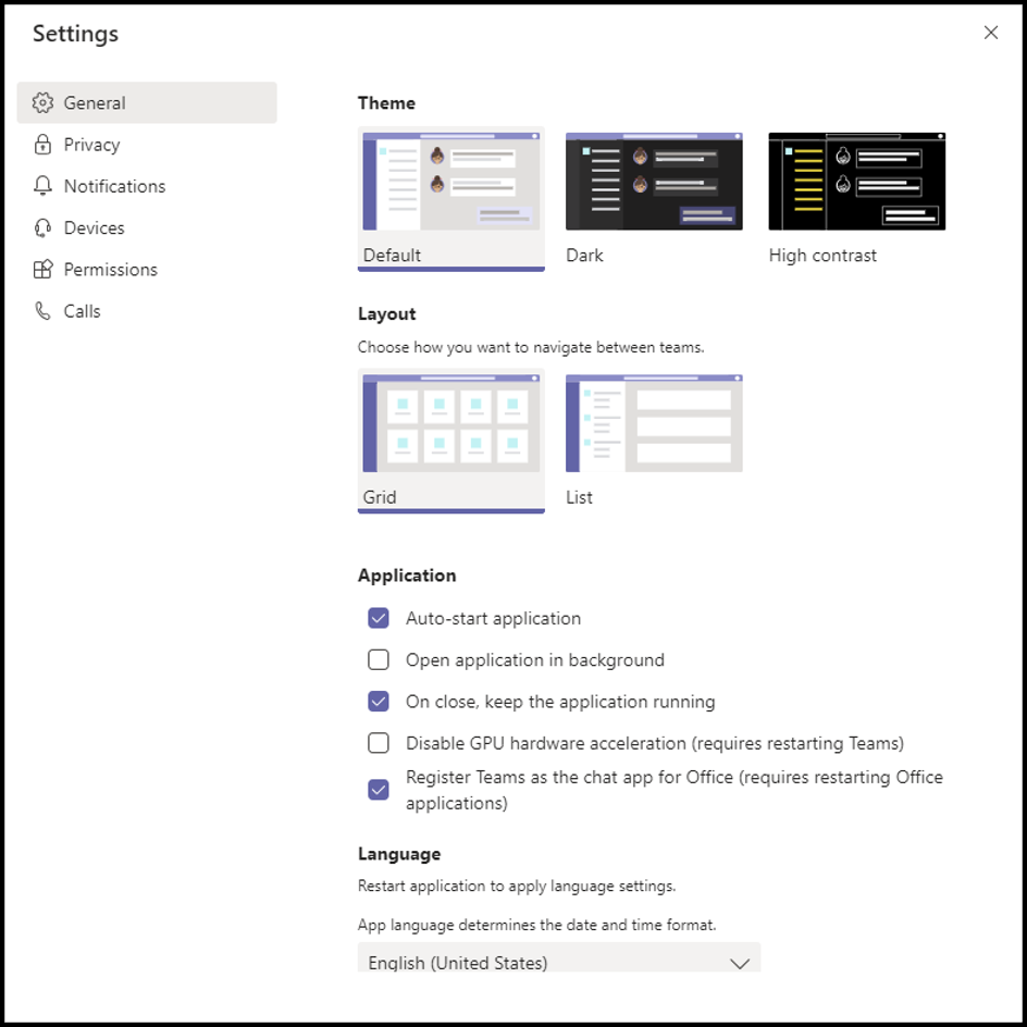 Teams Windows App Settings