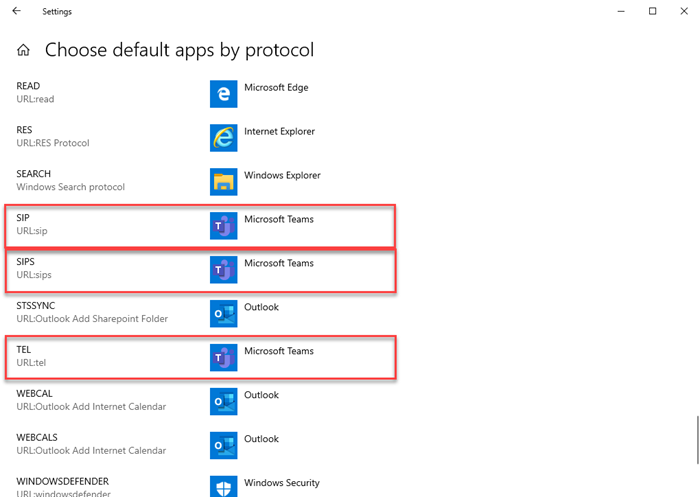Default apps set to Microsoft Teams