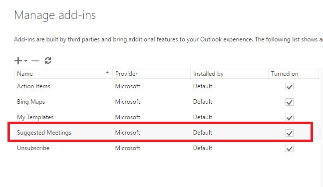 Office 365 (Outlook on the Web) - Disable suggested meetings add-in