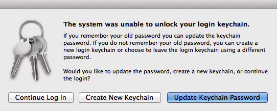 The system was unable to unlock uyour login keychain macOS prompt.