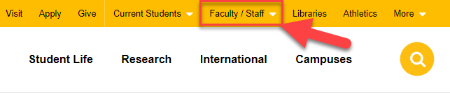 UWM home page faculty staff drop down menu