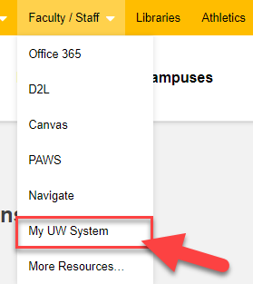 Faculty Staff Menu, select My UW System option