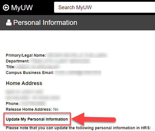 My UW System, Update My Personal Information