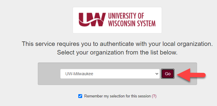 My UW System, select an organization, UW Milwaukee