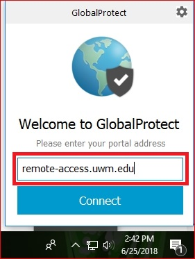 "In the box that appears type ""remote-access.uwm.edu"" as it appears in the picture and click the blue ""Connect"" button"