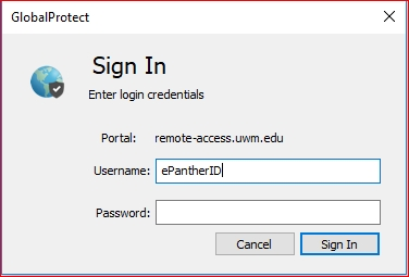 Sign into the VPN using your ePantherID Credentials
