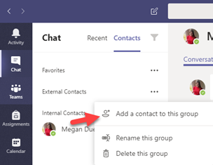 Add a contact to this group (external contacts)