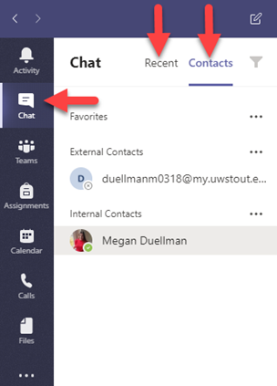 Chat, Recent, and Contacts